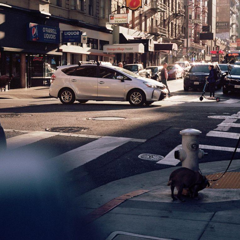 Une matinée et son agitation dans les rues de San Francisco, les uns traversent en trotinette ou en regrdant leurs portables des voitures partout, un homme sort son chien.